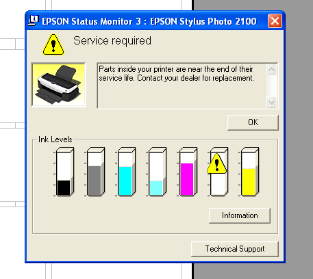 Epson printer Reset Adjustment Program